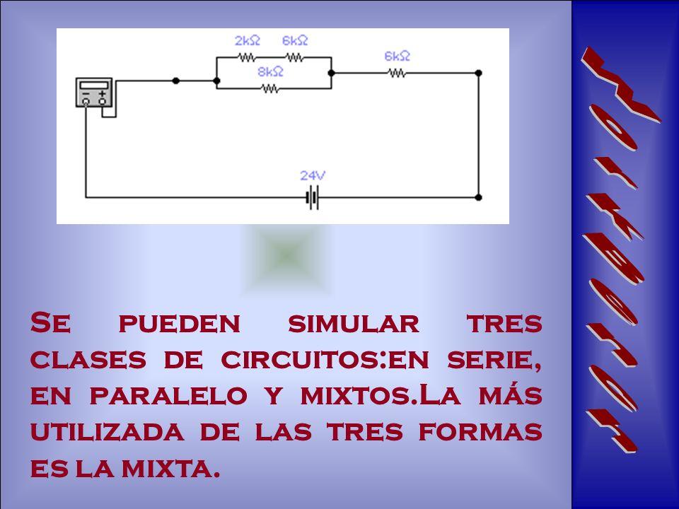 WorkBench Se pueden simular tres clases de circuitos:en serie, en paralelo y mixtos.La más utilizada de las tres formas es la mixta.