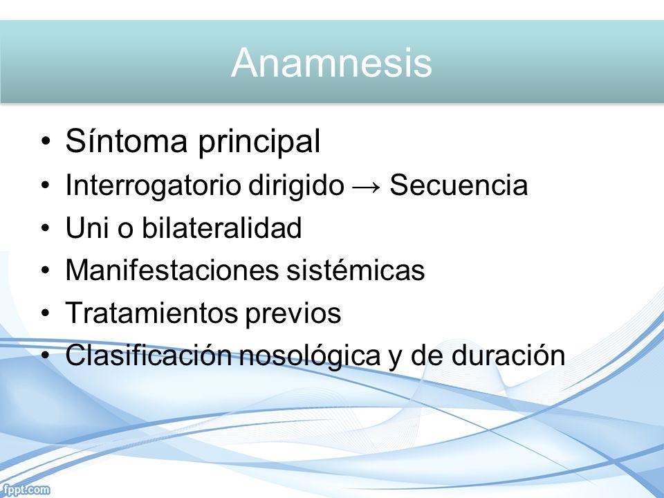 Anamnesis Anamnesis Síntoma principal