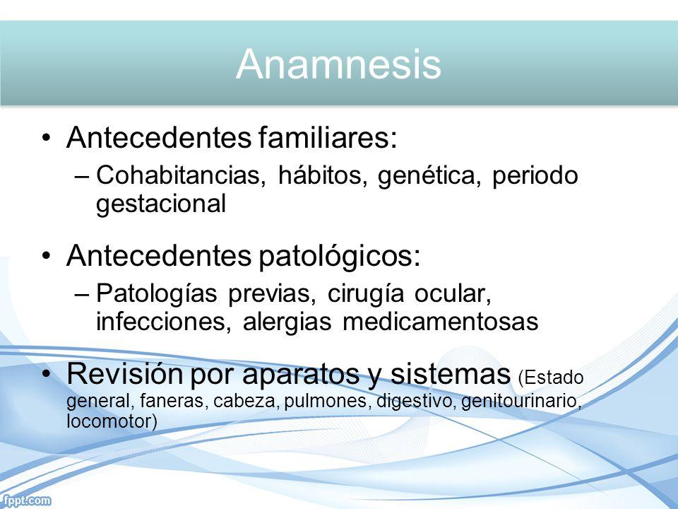 Anamnesis Anamnesis Antecedentes familiares: Antecedentes patológicos: