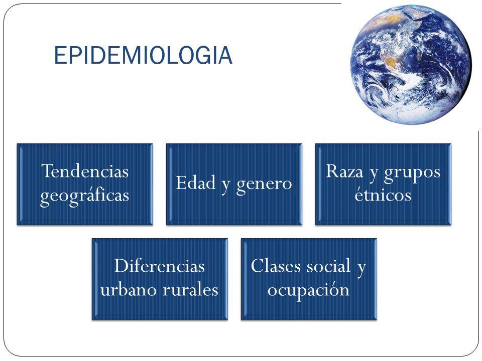 EPIDEMIOLOGIA Tendencias geográficas Edad y genero