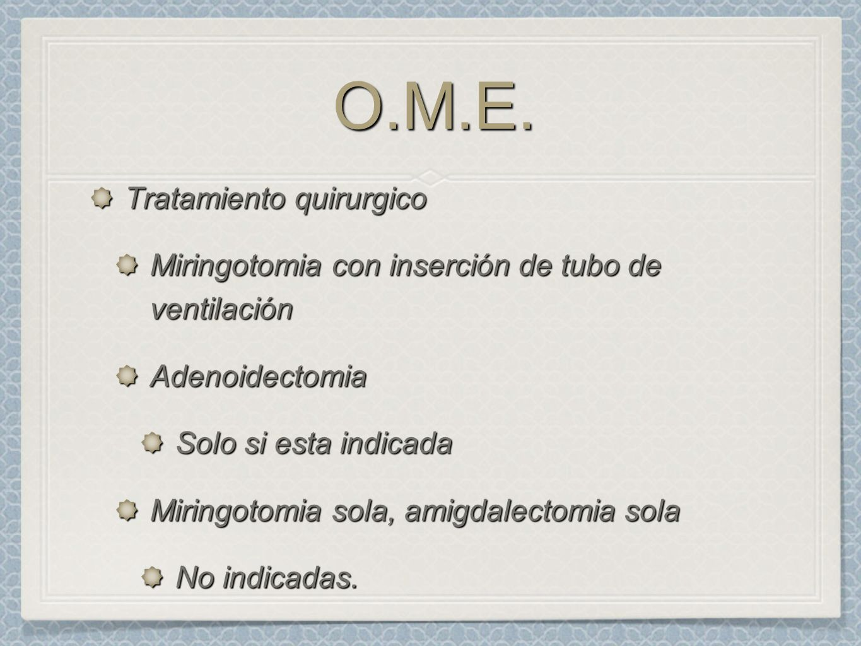 O.M.E. Tratamiento quirurgico