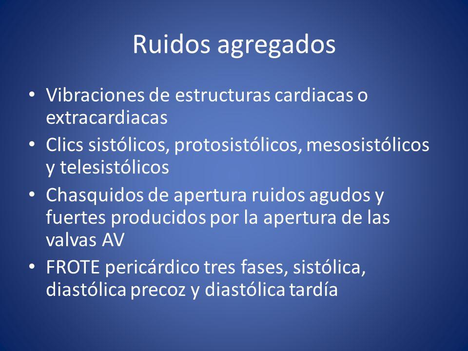 Ruidos agregados Vibraciones de estructuras cardiacas o extracardiacas