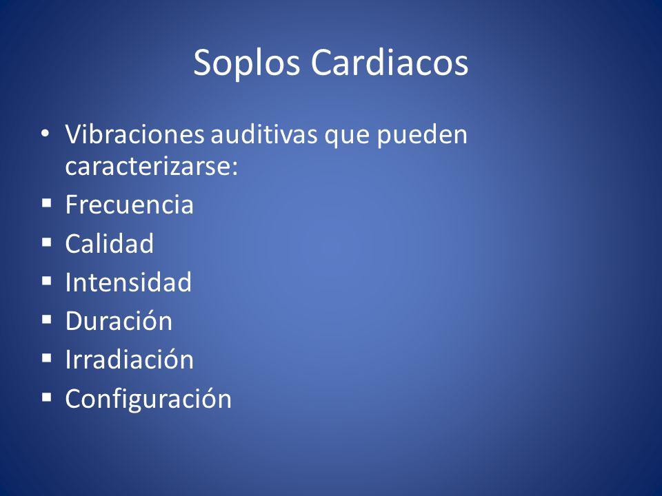 Soplos Cardiacos Vibraciones auditivas que pueden caracterizarse: