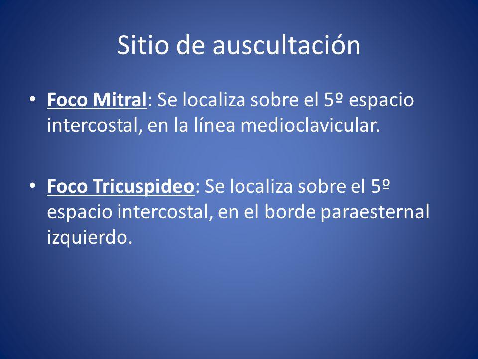 Sitio de auscultación Foco Mitral: Se localiza sobre el 5º espacio intercostal, en la línea medioclavicular.