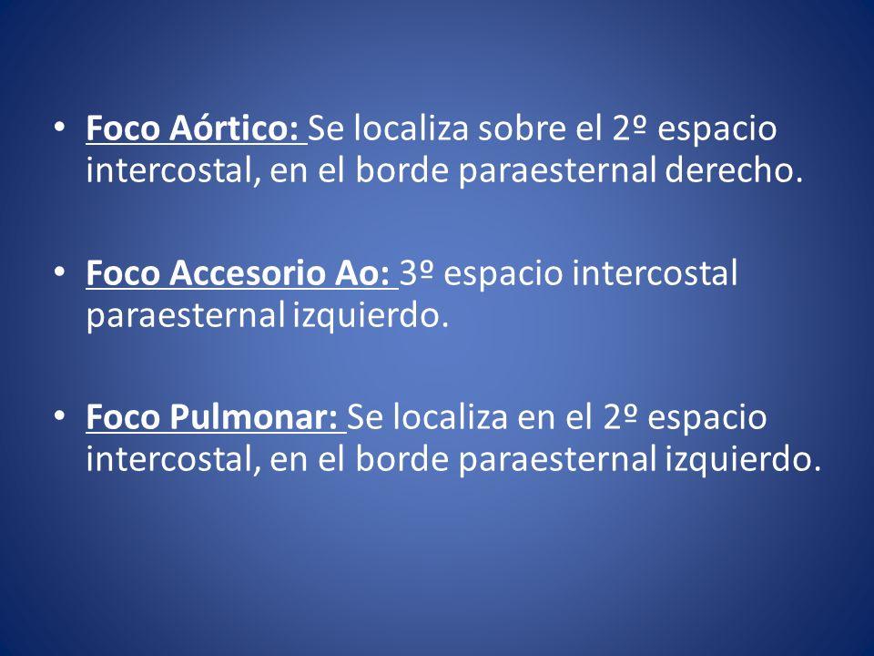 Foco Aórtico: Se localiza sobre el 2º espacio intercostal, en el borde paraesternal derecho.