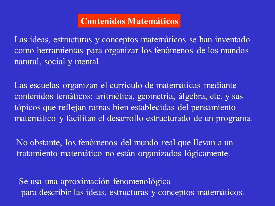 Contenidos Matemáticos