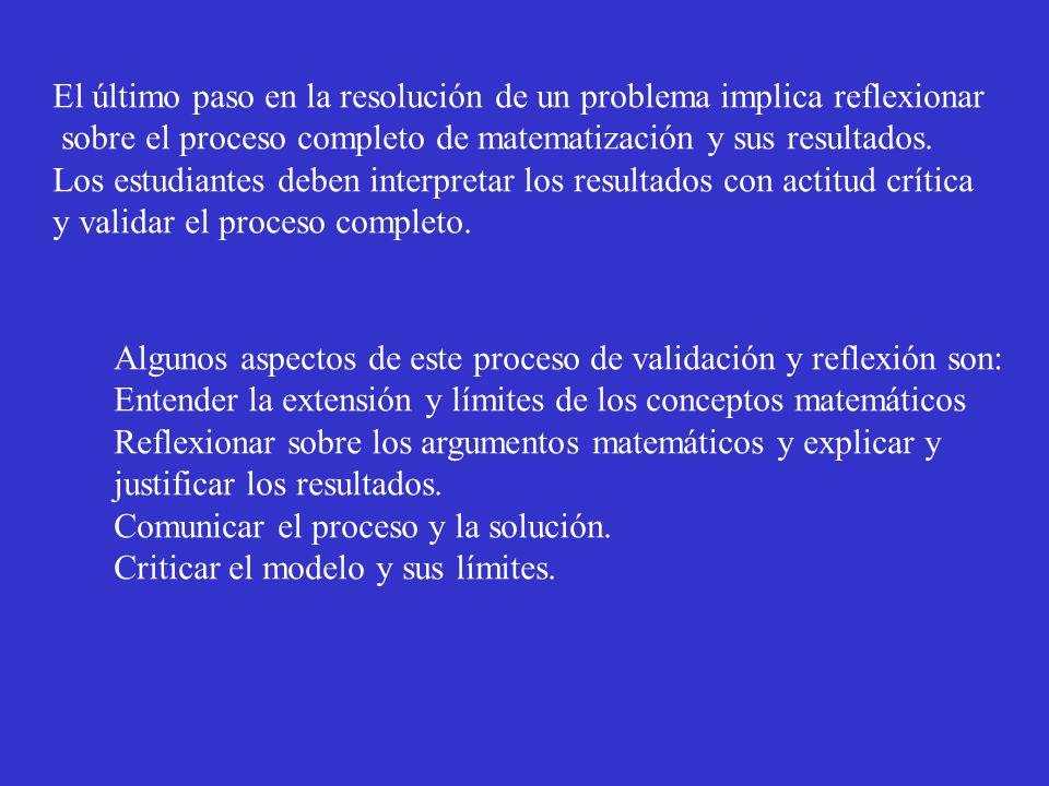 El último paso en la resolución de un problema implica reflexionar