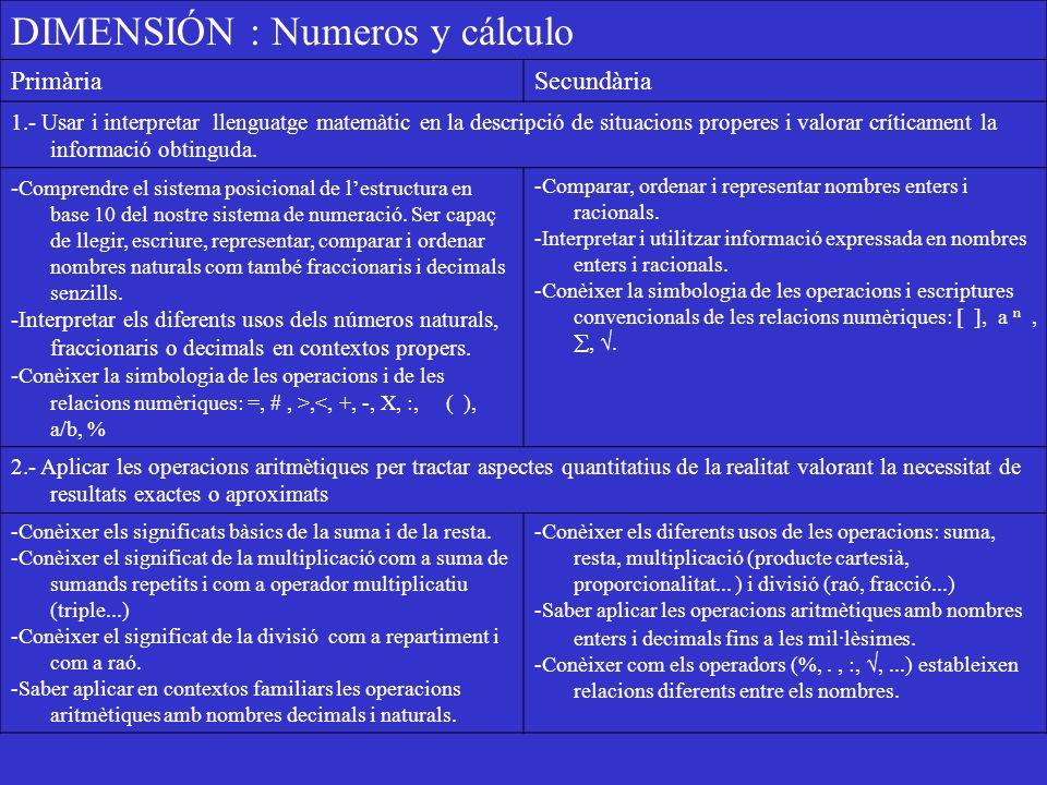 DIMENSIÓN : Numeros y cálculo