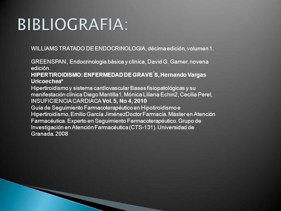 BIBLIOGRAFIA: WILLIAMS TRATADO DE ENDOCRINOLOGIA, décima edición, volumen 1.
