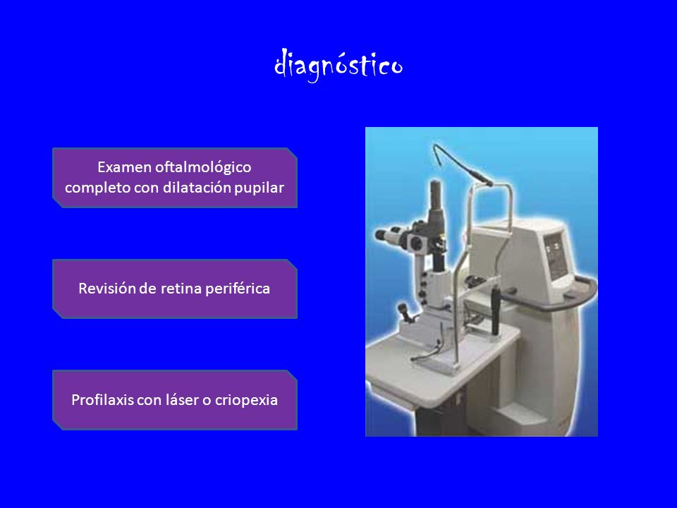 diagnóstico Examen oftalmológico completo con dilatación pupilar
