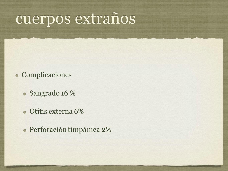 cuerpos extraños Complicaciones Sangrado 16 % Otitis externa 6%