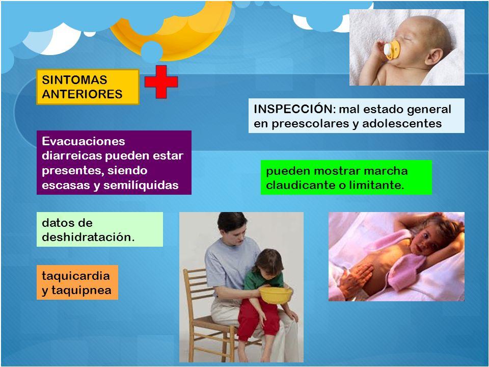 SINTOMAS ANTERIORES INSPECCIÓN: mal estado general en preescolares y adolescentes.