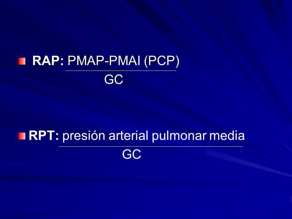 RAP: PMAP-PMAI (PCP) GC RPT: presión arterial pulmonar media