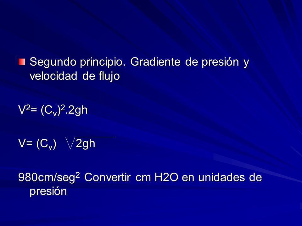 Segundo principio. Gradiente de presión y velocidad de flujo