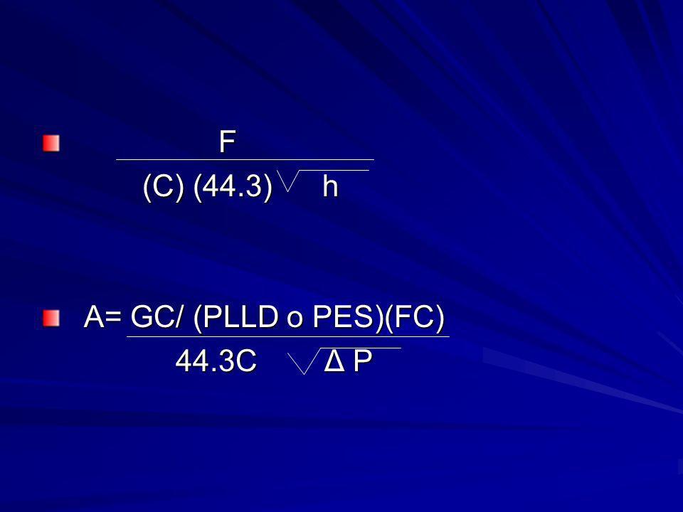 F (C) (44.3) h A= GC/ (PLLD o PES)(FC) 44.3C Δ P