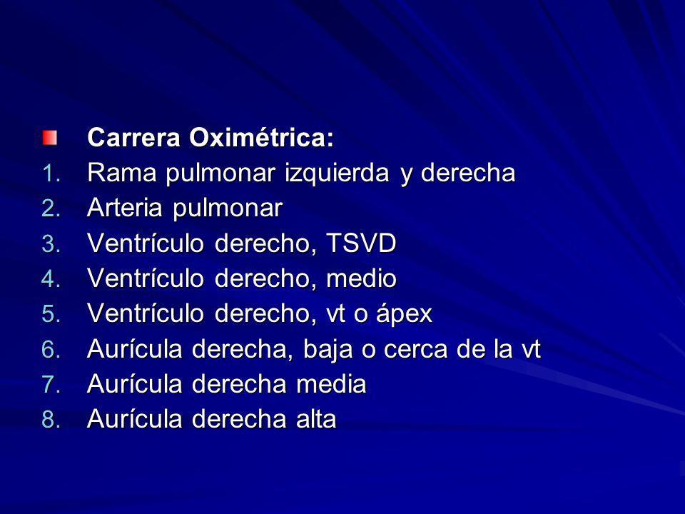 Carrera Oximétrica: Rama pulmonar izquierda y derecha. Arteria pulmonar. Ventrículo derecho, TSVD.