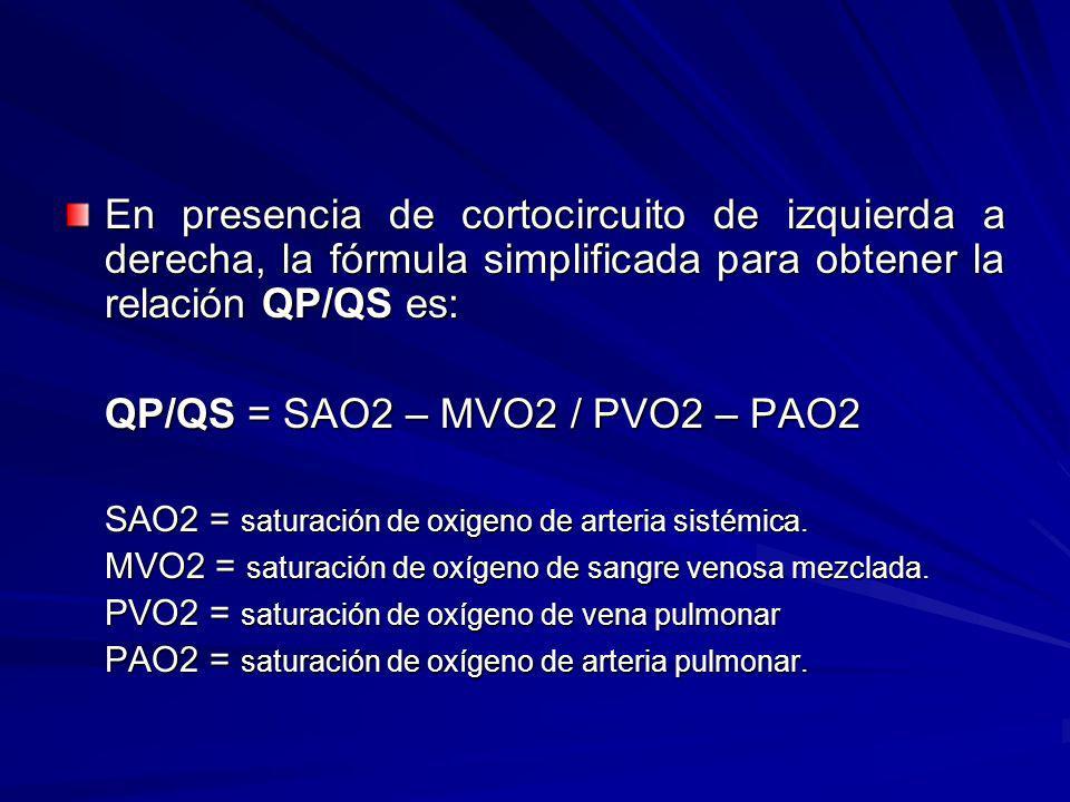 En presencia de cortocircuito de izquierda a derecha, la fórmula simplificada para obtener la relación QP/QS es: