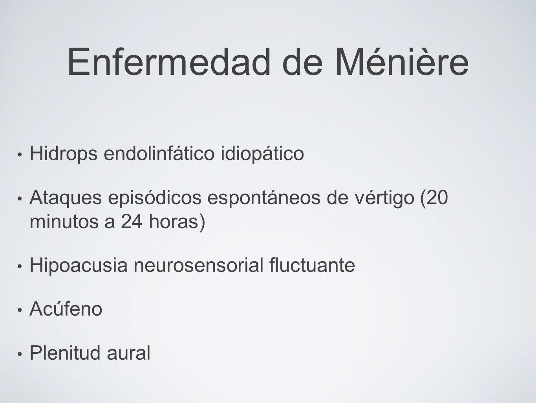 Enfermedad de Ménière Hidrops endolinfático idiopático