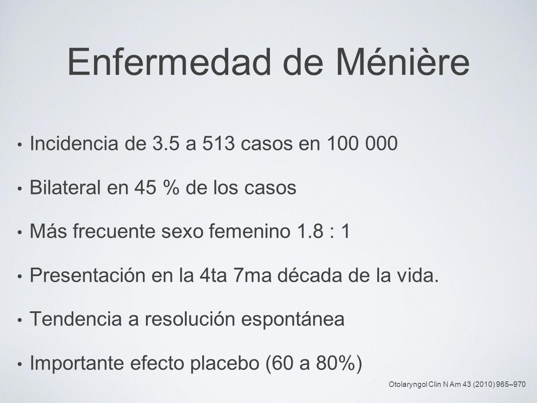 Enfermedad de Ménière Incidencia de 3.5 a 513 casos en 100 000