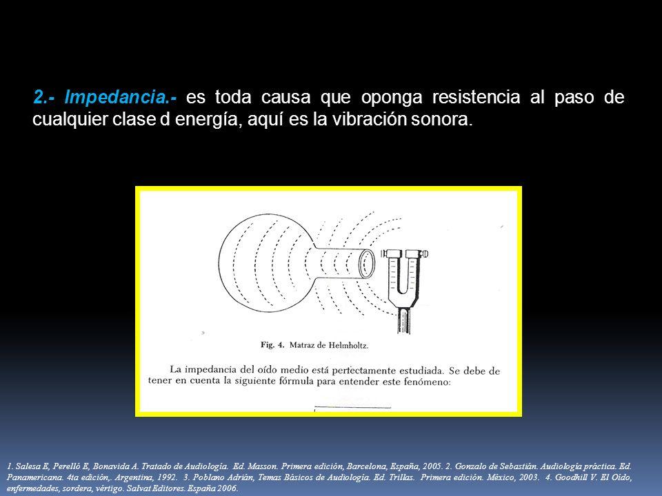 2.- Impedancia.- es toda causa que oponga resistencia al paso de cualquier clase d energía, aquí es la vibración sonora.