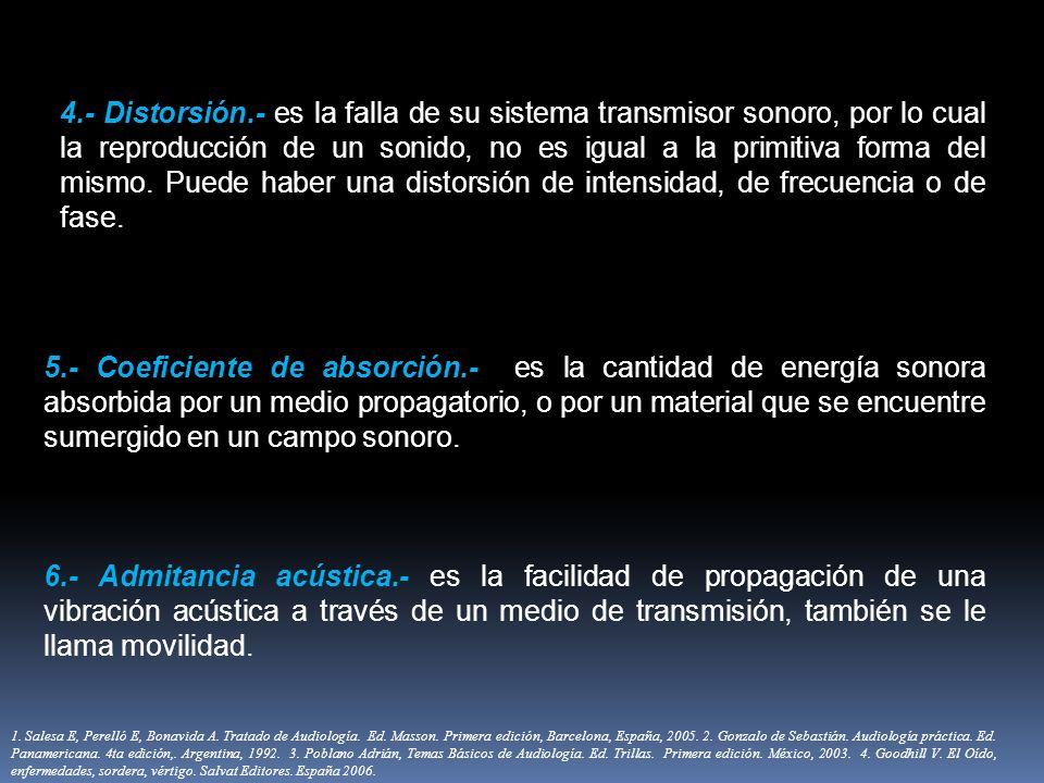4.- Distorsión.- es la falla de su sistema transmisor sonoro, por lo cual la reproducción de un sonido, no es igual a la primitiva forma del mismo. Puede haber una distorsión de intensidad, de frecuencia o de fase.