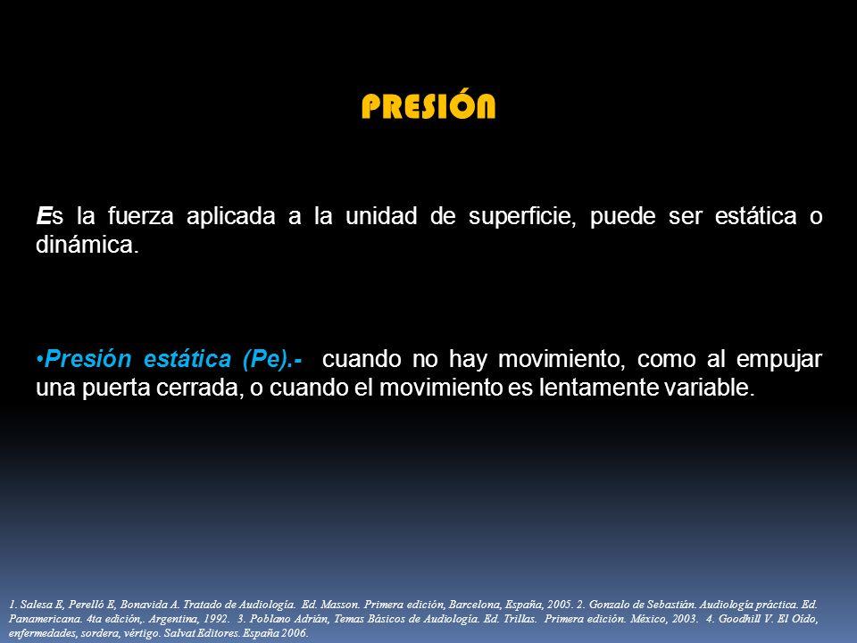 PRESIÓN Es la fuerza aplicada a la unidad de superficie, puede ser estática o dinámica.