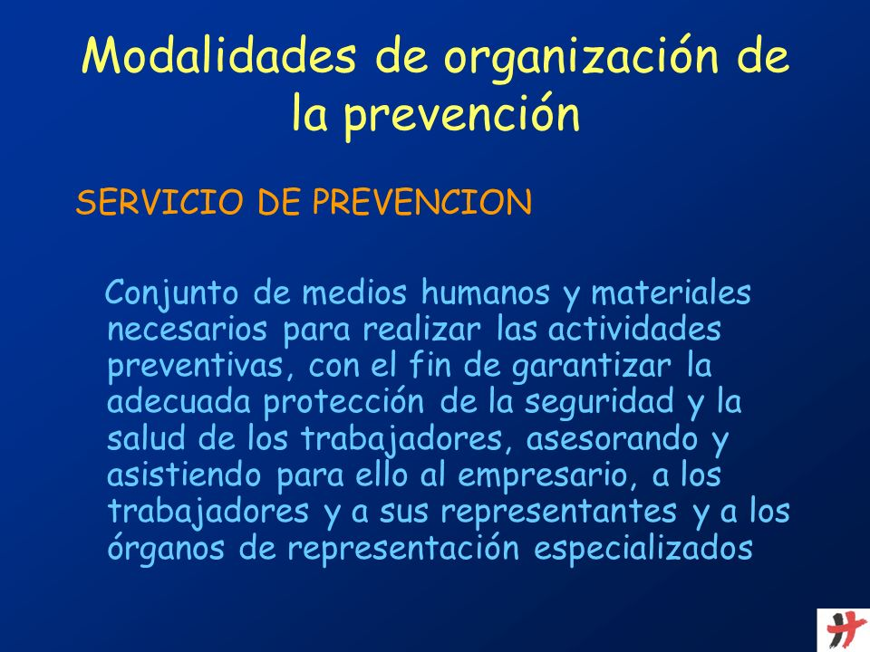 Modalidades de organización de la prevención