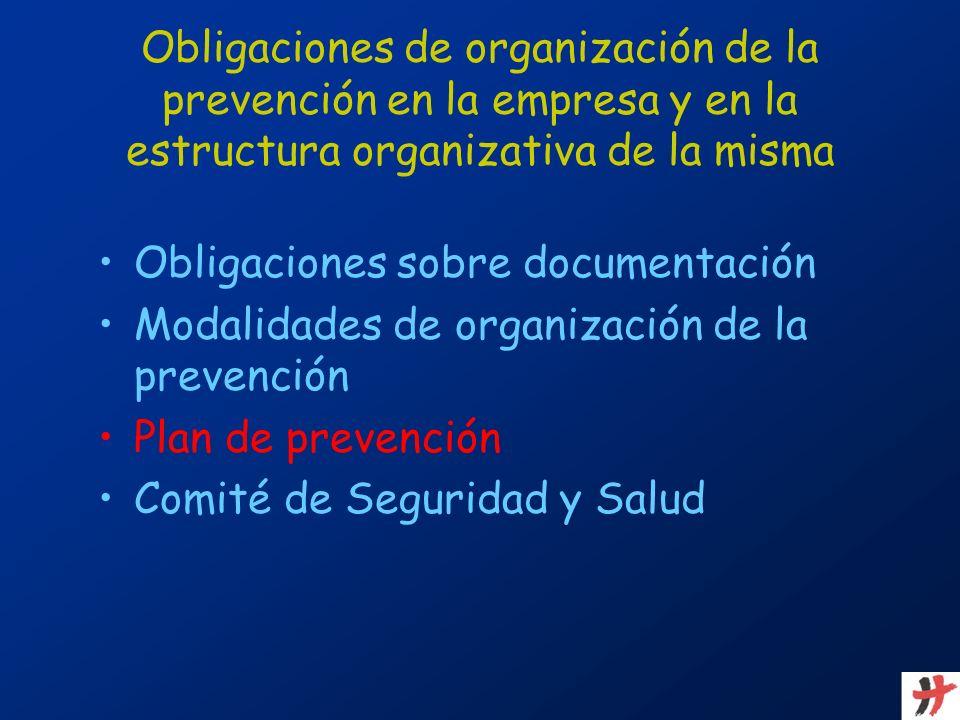 Obligaciones de organización de la prevención en la empresa y en la estructura organizativa de la misma