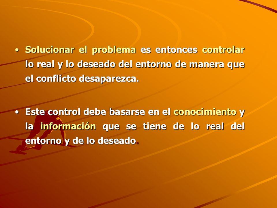 Solucionar el problema es entonces controlar lo real y lo deseado del entorno de manera que el conflicto desaparezca.