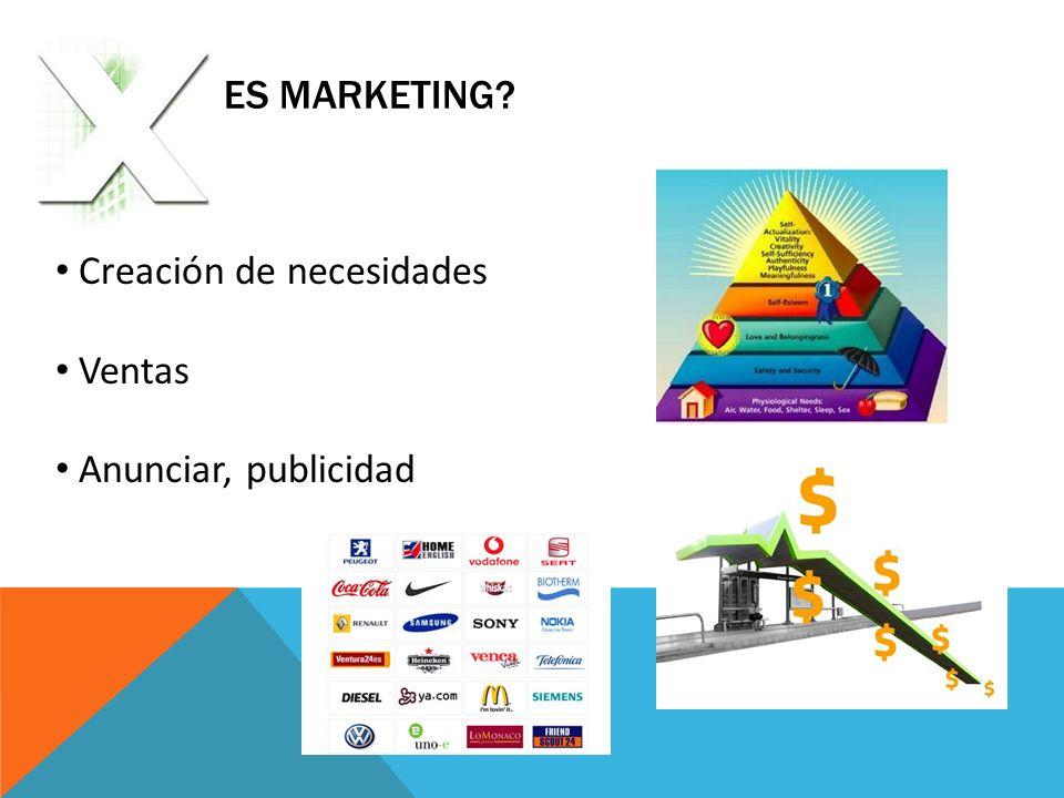 ¿Qué no es Marketing Creación de necesidades Ventas Anunciar, publicidad