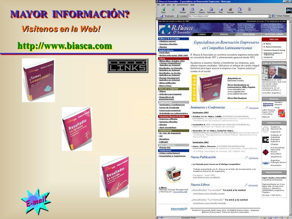 MAYOR INFORMACIÓN Visítenos en la Web! http://www.biasca.com