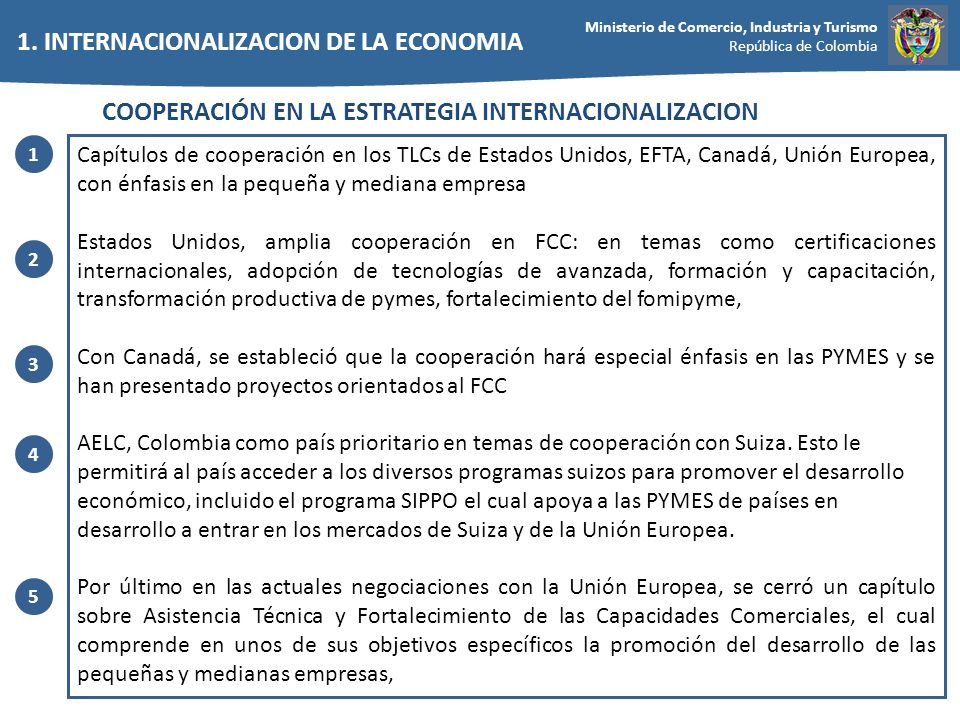 1. INTERNACIONALIZACION DE LA ECONOMIA