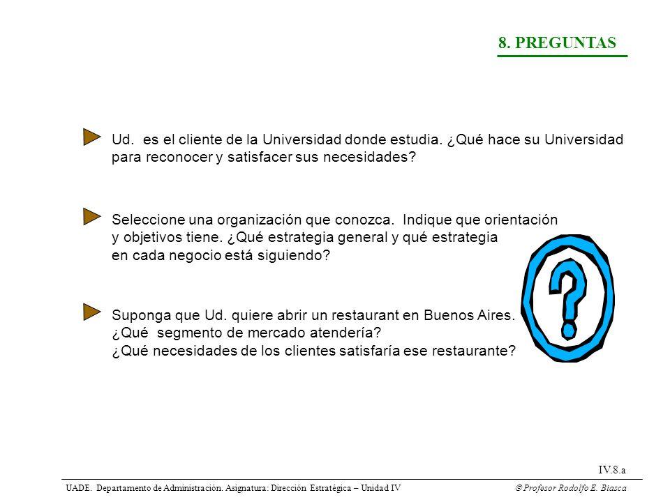 8. PREGUNTAS Ud. es el cliente de la Universidad donde estudia. ¿Qué hace su Universidad. para reconocer y satisfacer sus necesidades