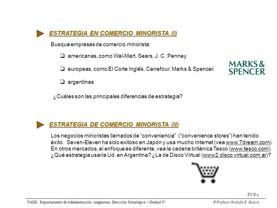 ESTRATEGIA EN COMERCIO MINORISTA (I)