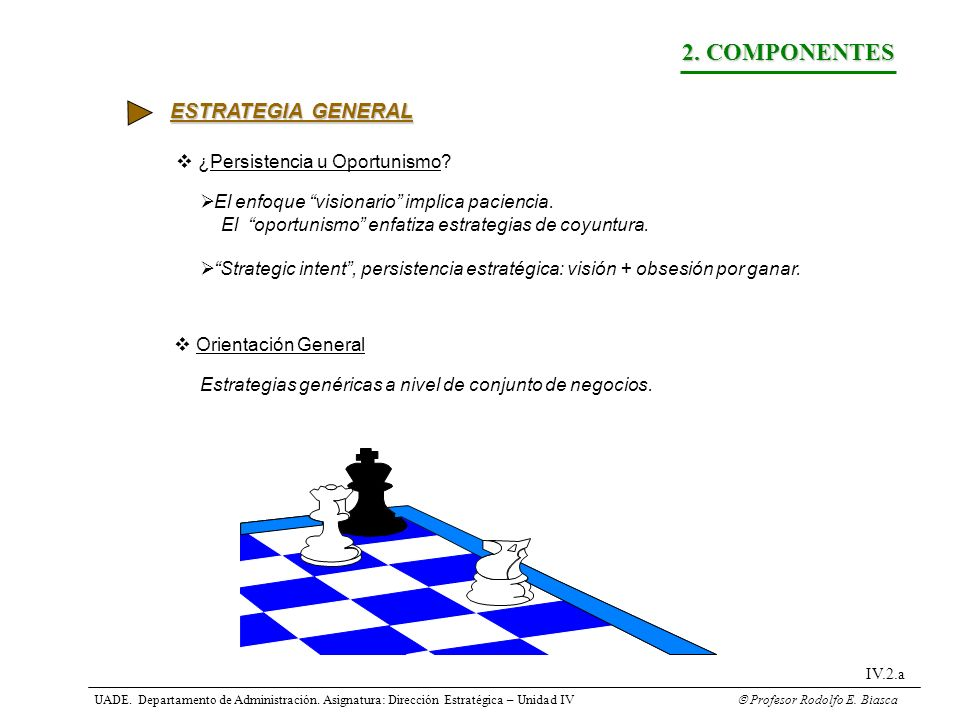 2. COMPONENTES ESTRATEGIA GENERAL ¿Persistencia u Oportunismo