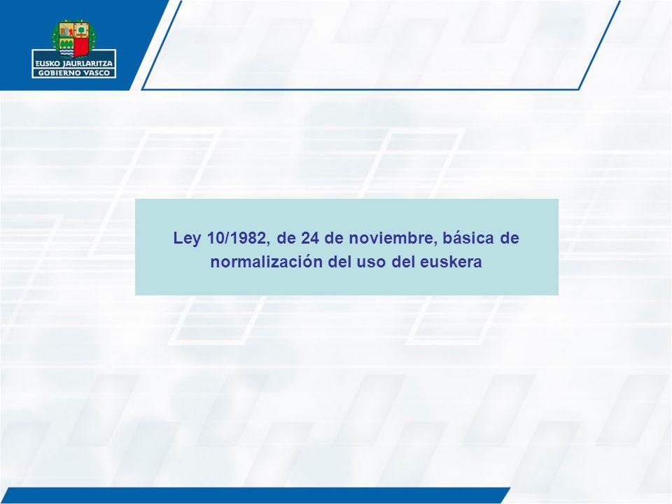 Ley 10/1982, de 24 de noviembre, básica de normalización del uso del euskera