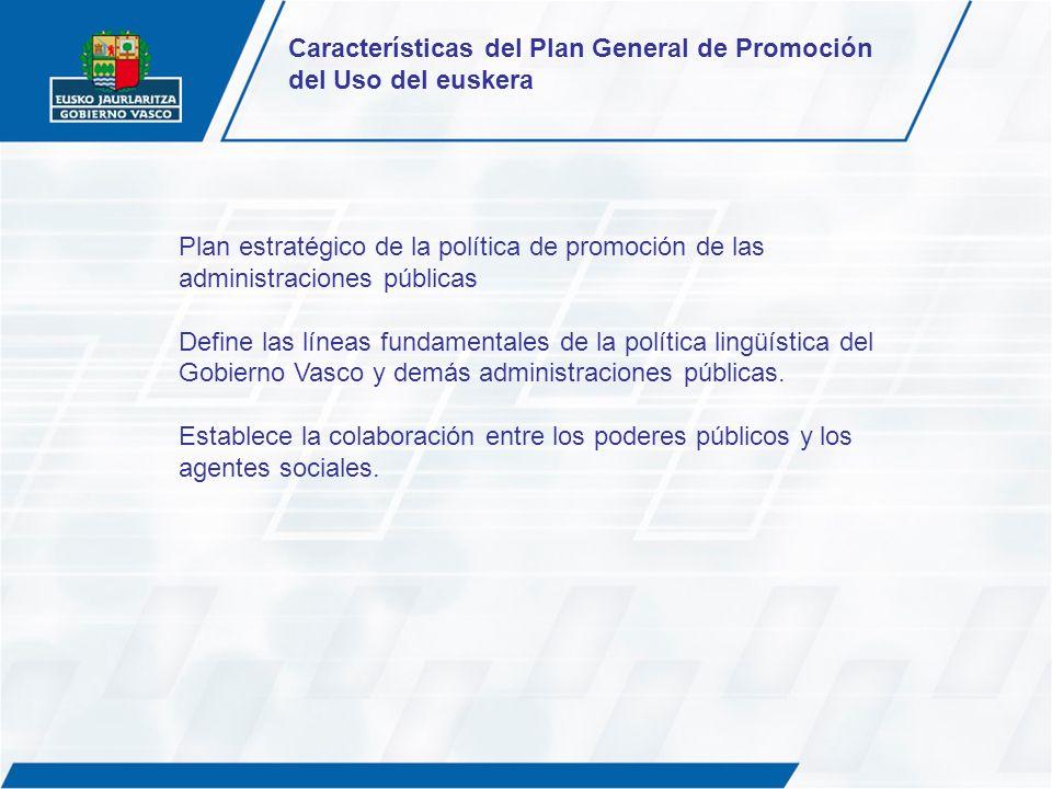 Características del Plan General de Promoción del Uso del euskera
