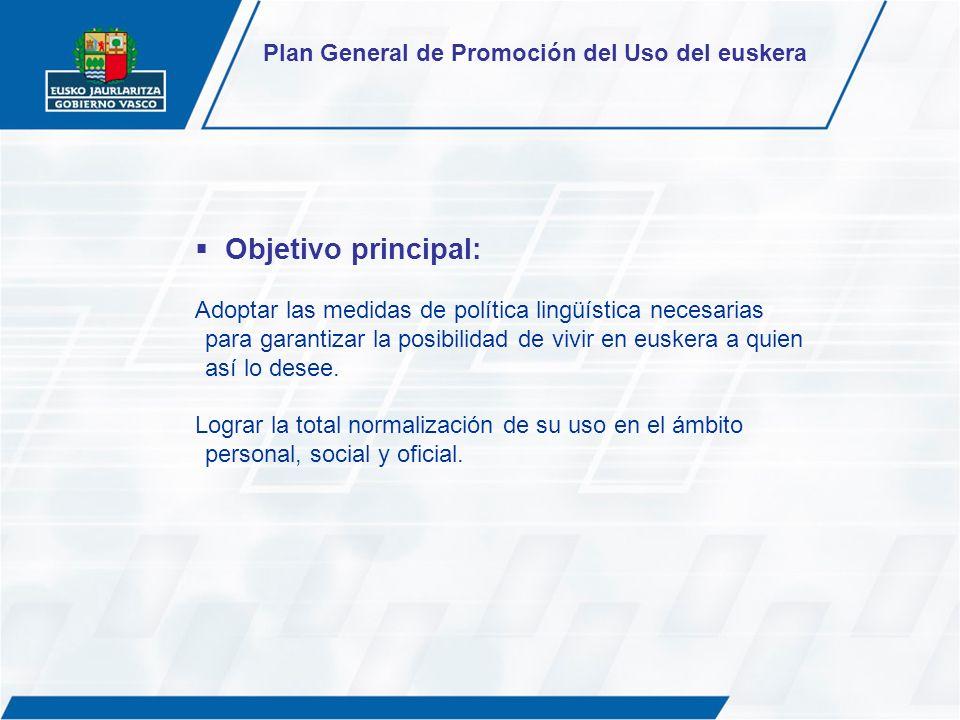 Objetivo principal: Plan General de Promoción del Uso del euskera
