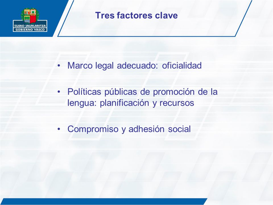 Tres factores clave Marco legal adecuado: oficialidad. Políticas públicas de promoción de la lengua: planificación y recursos.