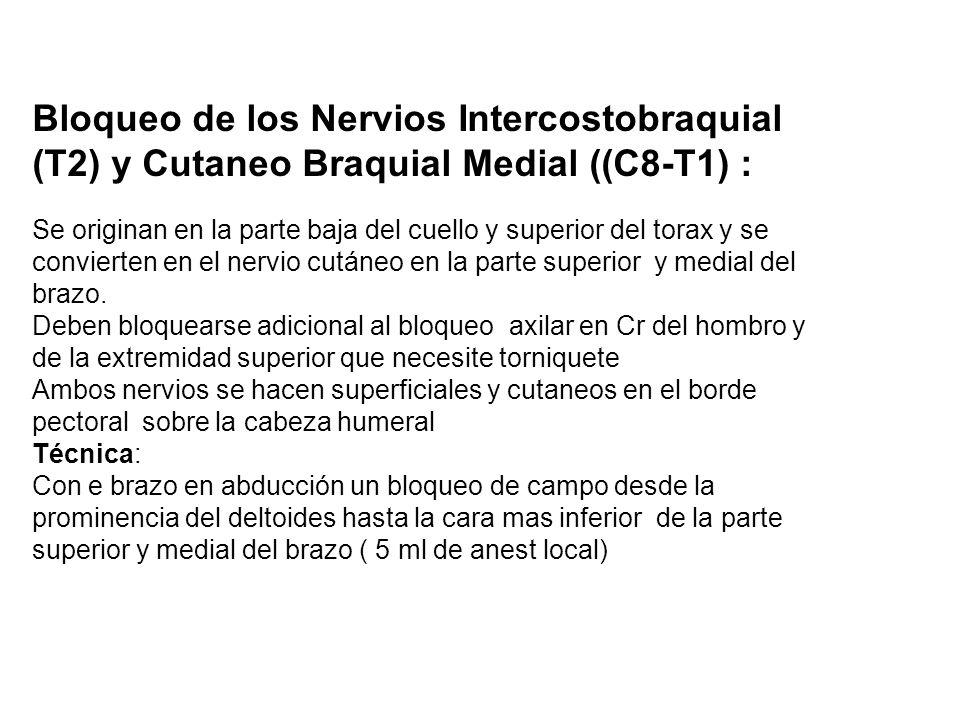 Bloqueo de los Nervios Intercostobraquial (T2) y Cutaneo Braquial Medial ((C8-T1) :