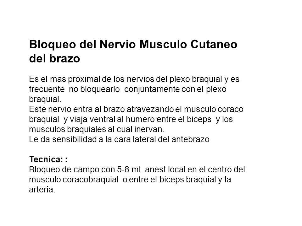 Bloqueo del Nervio Musculo Cutaneo del brazo