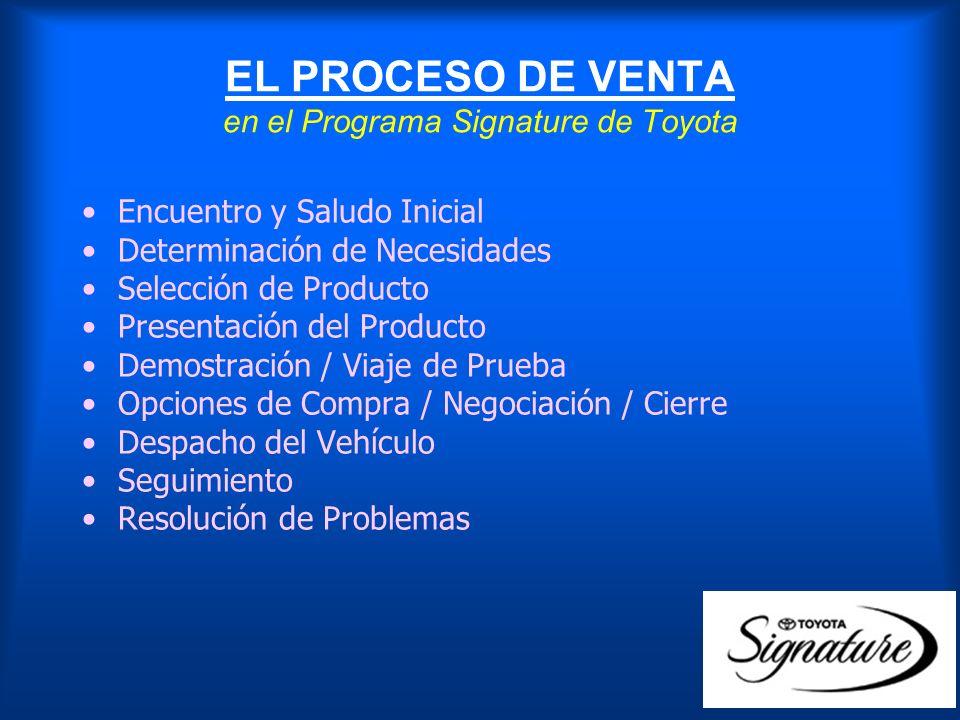 EL PROCESO DE VENTA en el Programa Signature de Toyota