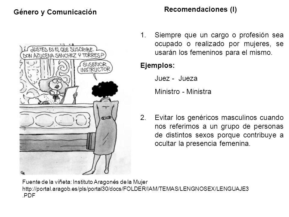 Recomendaciones (I) Género y Comunicación