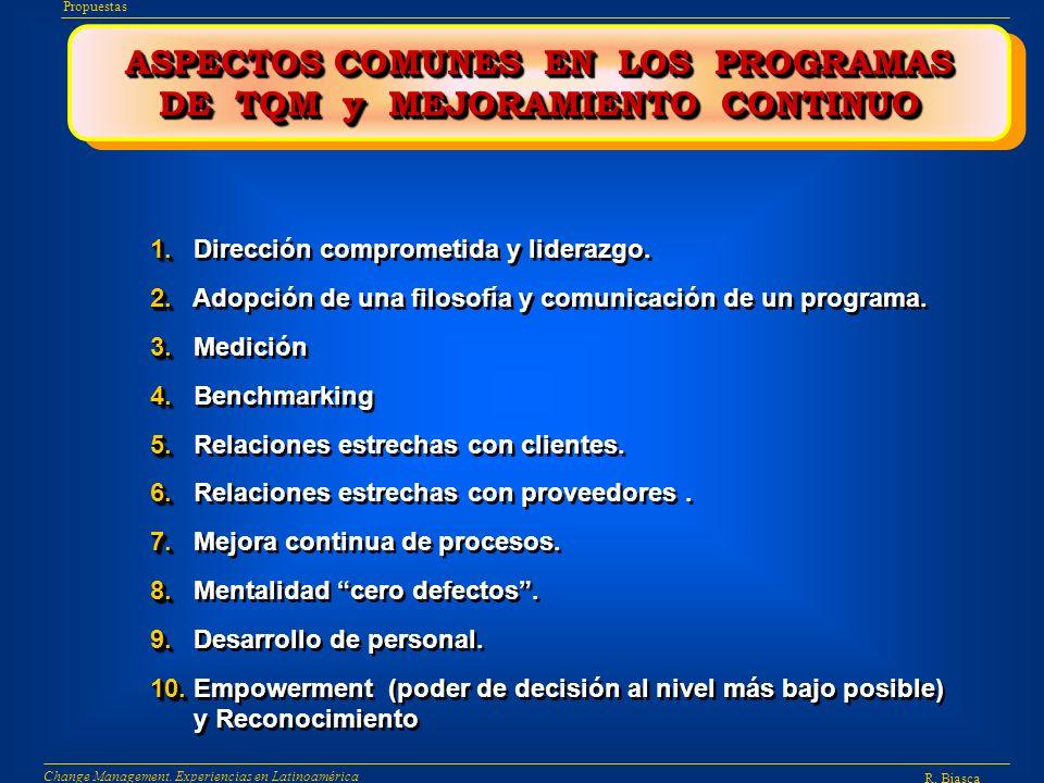 ASPECTOS COMUNES EN LOS PROGRAMAS DE TQM y MEJORAMIENTO CONTINUO