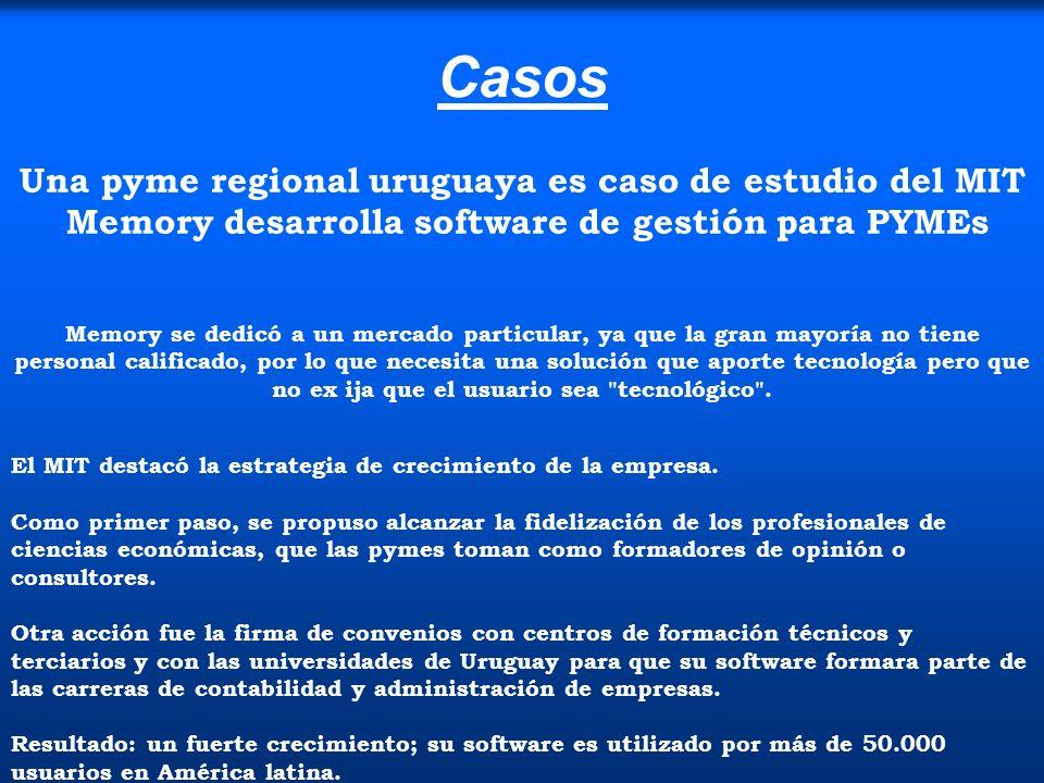 Casos Una pyme regional uruguaya es caso de estudio del MIT Memory desarrolla software de gestión para PYMEs.