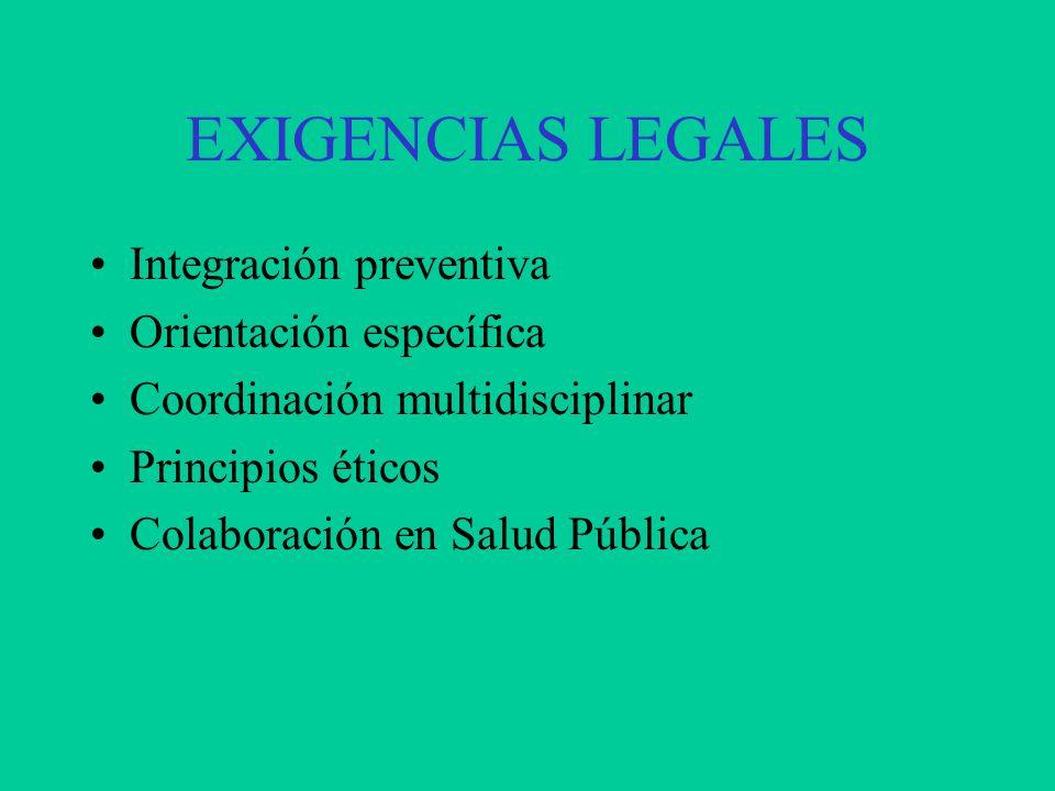 EXIGENCIAS LEGALES Integración preventiva Orientación específica