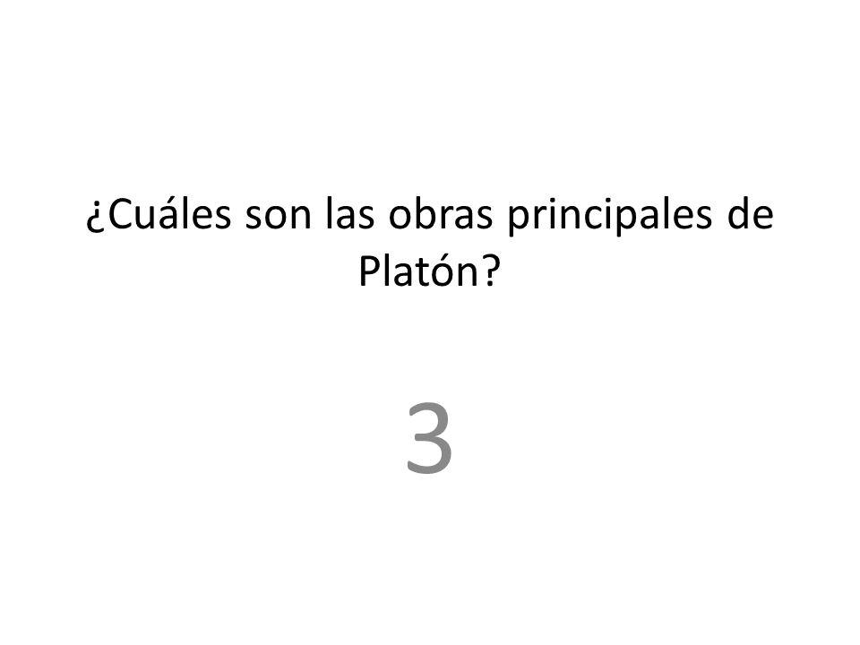 ¿Cuáles son las obras principales de Platón