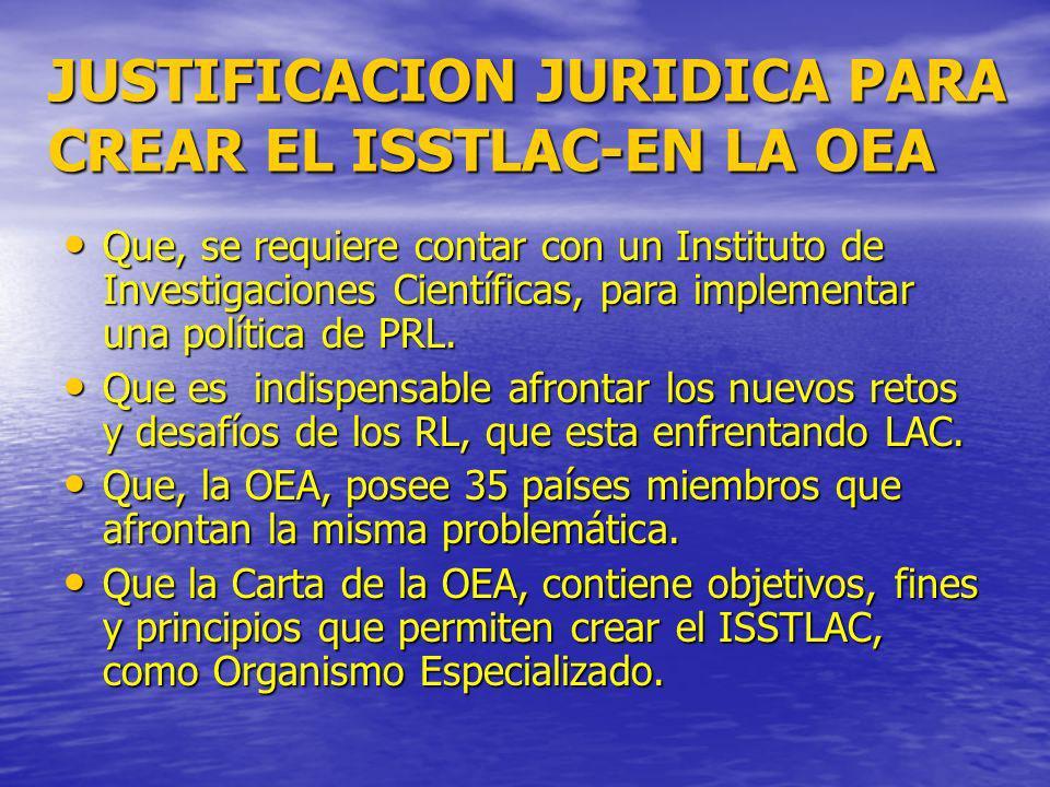 JUSTIFICACION JURIDICA PARA CREAR EL ISSTLAC-EN LA OEA