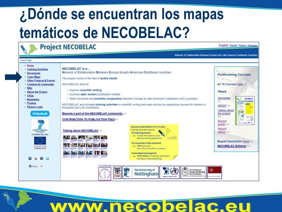 ¿Dónde se encuentran los mapas temáticos de NECOBELAC
