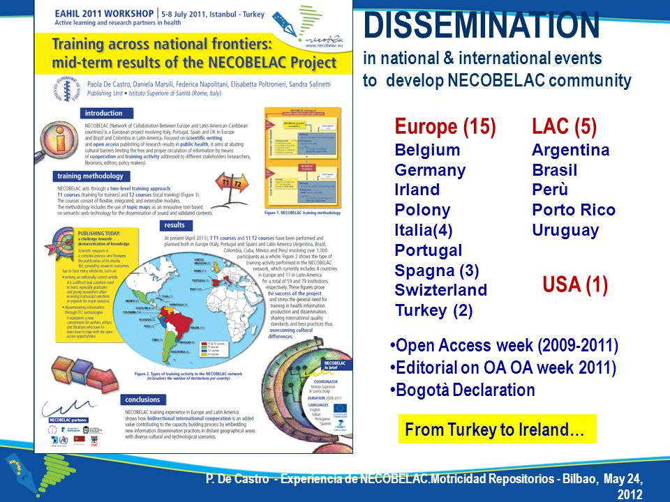 DISSEMINATION Europe (15) LAC (5) USA (1)